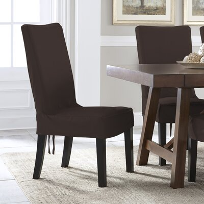 Relaxed Smooth Furniture Dining Chair Slipcover with Adjustable Ties Upholstery: Chocolate