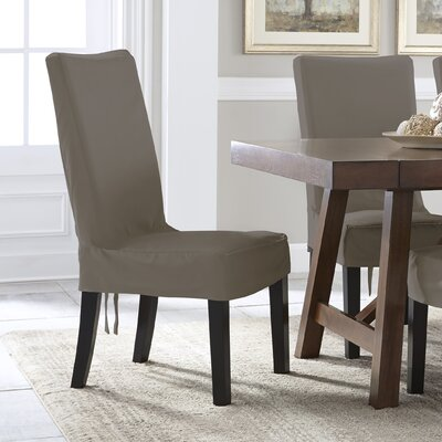 Relaxed Smooth Furniture Dining Chair Slipcover with Adjustable Ties Upholstery: Gray