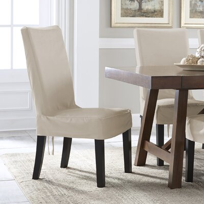 Relaxed Smooth Furniture Dining Chair Slipcover with Adjustable Ties Upholstery: Ivory