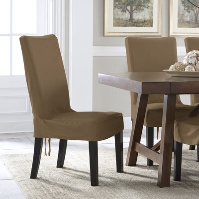 Relaxed Smooth Furniture Dining Chair Slipcover with Adjustable Ties Upholstery: Taupe