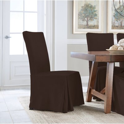 Relaxed Smooth Furniture Dining Chair Slipcover Upholstery: Chocolate