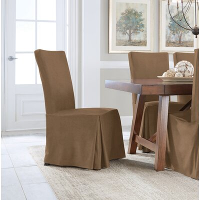 Relaxed Smooth Furniture Dining Chair Slipcover Upholstery: Taupe
