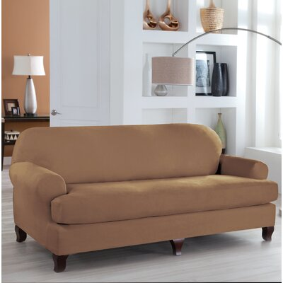 Stretch Fit T-Cushion Slipcover Upholstery: Camel