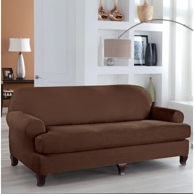 Stretch Fit T-Cushion Slipcover Upholstery: Cocoa