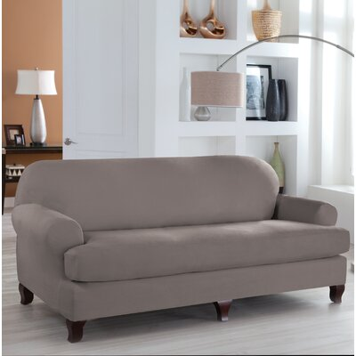 Stretch Fit T-Cushion 4 Piece Slipcover Set Upholstery: Gray