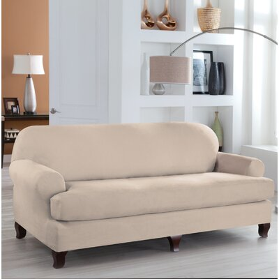 Stretch Fit T-Cushion Slipcover Upholstery: Ivory