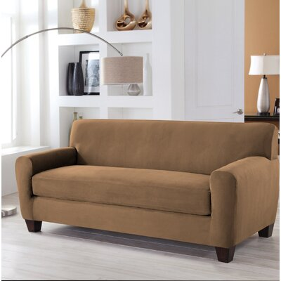 Stretch Fit Box Cushion 4 Piece Slipcover Set Upholstery: Camel