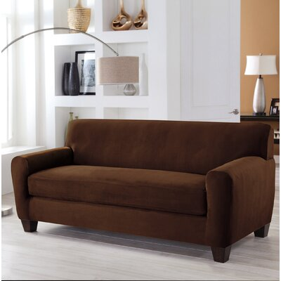 Stretch Fit Box Cushion 4 Piece Slipcover Set Upholstery: Cocoa