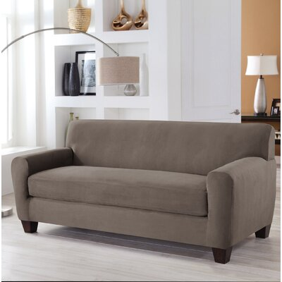 Stretch Fit Box Cushion 4 Piece Slipcover Set Upholstery: Gray