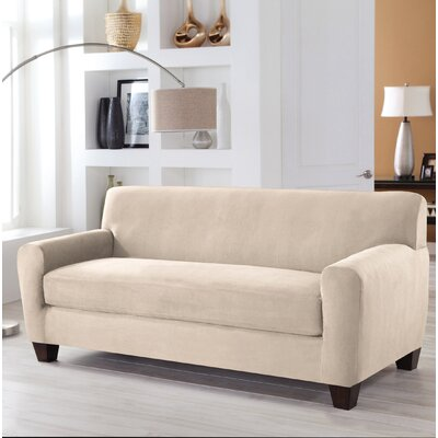 Stretch Fit Box Cushion 4 Piece Slipcover Set Upholstery: Ivory