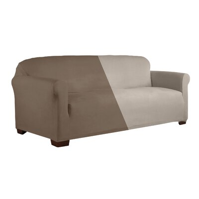 Reversible Stretch Box Cushion 2 Piece Slipcover Set Upholstery: Brown