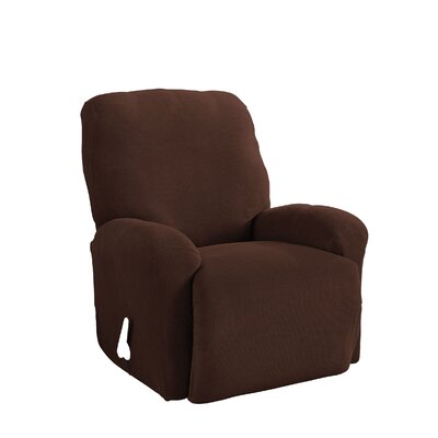 Stretch Grid Box Cushion 9 Piece Slipcover Set Upholstery: Chocolate
