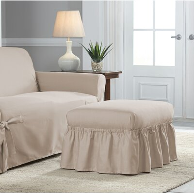 Relaxed Fit Duck Furniture Box Cushion 2 Piece Slipcover Set Upholstery: Khaki