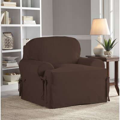 Relaxed Fit Duck Furniture T-Cushion 2 Piece Slipcover Set Upholstery: Chocolate