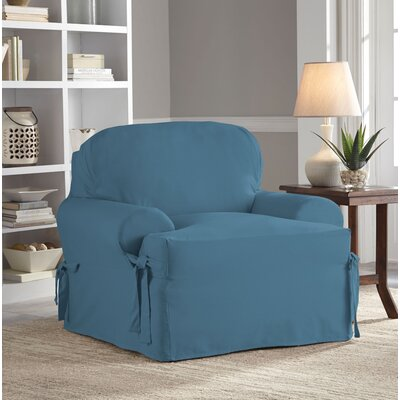 Relaxed Fit Duck Furniture T-Cushion 2 Piece Slipcover Set Upholstery: Indigo