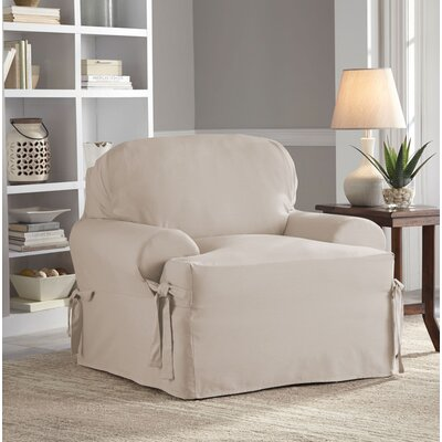Relaxed Fit Duck Furniture T-Cushion 2 Piece Slipcover Set Upholstery: Khaki