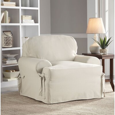 Relaxed Fit Duck Furniture T-Cushion 2 Piece Slipcover Set Upholstery: Natural
