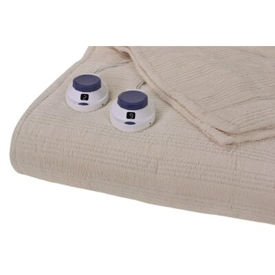 Triple Rib Electric Heated Warming Throw Color: Natural