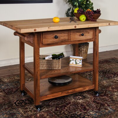 Kitchen Island with Butcher Block Top Base Finish: Rustic Oak