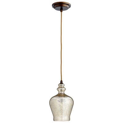 Calista 1-Light Mini Pendant Size / Finish / Shade Finish: 10.25 H x 6.25 W / Oiled Bronze / Mercury Glass