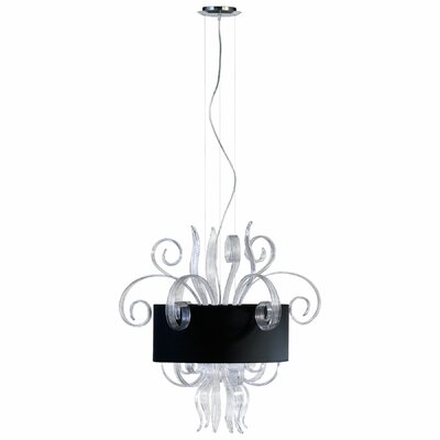 8-Light Drum Pendant Finish: Clear and White, Size: Medium