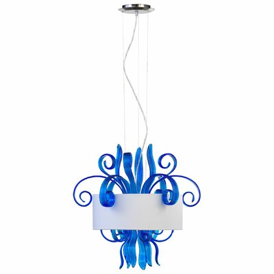 Jellyfish Cyan Drum Pendant Finish: Blue, Size: Small