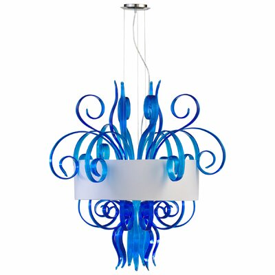 8-Light Drum Pendant Finish: Blue, Size: Large