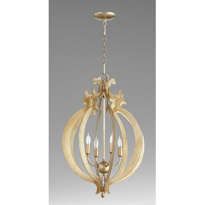 4-Light Foyer Pendant Finish: Aged Silver Leaf