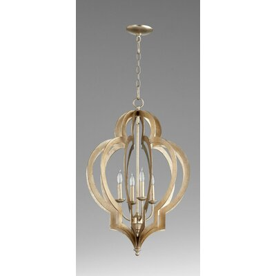 Vertigo 4-Light Foyer Pendant Finish: Silver Leaf