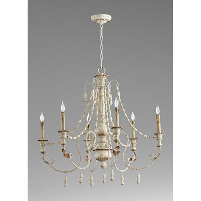 Lyon 6-Light Candle-Style Chandelier Finish: Persian White