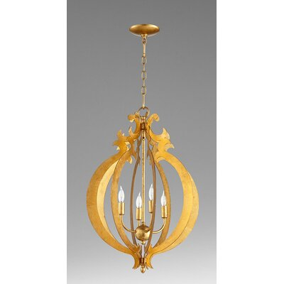 4-Light Foyer Pendant Finish: Gold Leaf