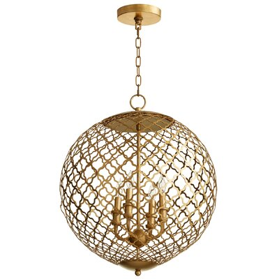 Skyros 4-Light Globe Pendant Finish: Gold