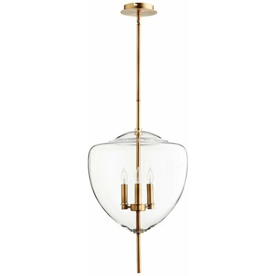 Ember 3-Light Pendant Finish / Shade Color: Satin Brass / Clear Glass