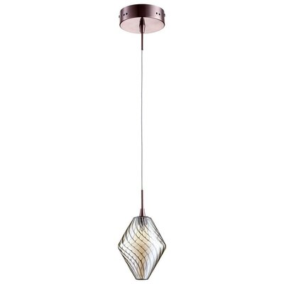 Beckett 1-Light Mini Pendant Finish / Shade Color: Satin Copper / Cognac Glass