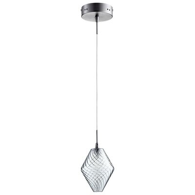 Beckett 1-Light Mini Pendant Finish / Shade Color: Satin Nickel / Ice Blue Glass