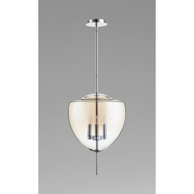 Ember 3-Light Pendant Finish / Shade Color: Chrome / Cognac Ombre Glass