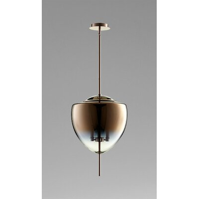 Ember 3-Light Geometric Pendant Finish / Shade Finish: Satin Copper / Coffee Ombre Glass