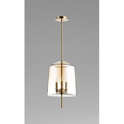 Lusterous 3-Light Mini Pendant Finish / Shade Color: Satin Brass / Cognac Ombre Glass