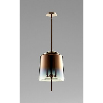 Lusterous 3-Light Mini Pendant Finish / Shade Color: Satin Copper / Coffee Ombre Glass