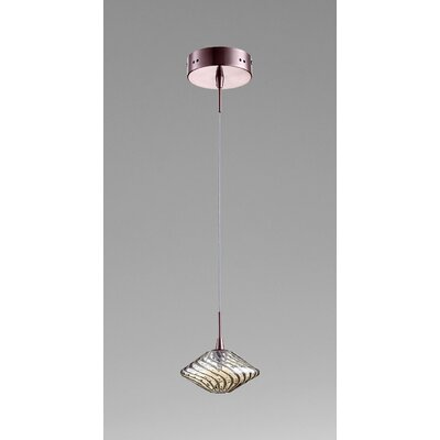 Clive 1-Light Mini Pendant Finish / Shade Finish: Satin Copper / Cognac Glass