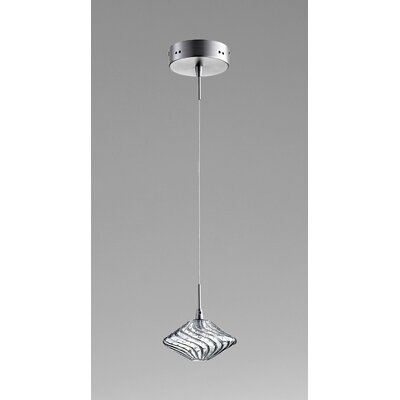 Clive 1-Light Mini Pendant Finish / Shade Color: Satin Nickel / Ice Blue Glass