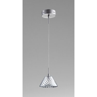Orson 1-Light Mini Pendant Finish / Shade Finish: Satin Nickel / Ice Blue Glass