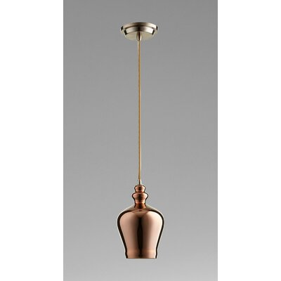 Calista 1-Light Mini Pendant Size / Finish / Shade Color: 12 H x 6 W x / Satin Copper / Copper Glass