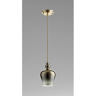 Calista 1-Light Mini Pendant Size / Finish / Shade Color: 12 H x 6 W x / Satin Gold / Gold Ombre Glass