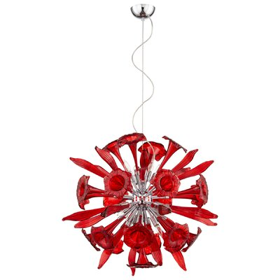 Remy 12-Light Globe Pendant Shade Color: Red