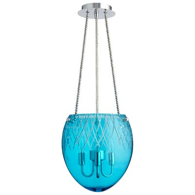3-Light Bowl Pendant Shade Color: Aqua