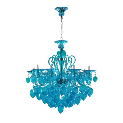 Bella 8-Light Candle-Style Chandelier Shade Color: Aqua