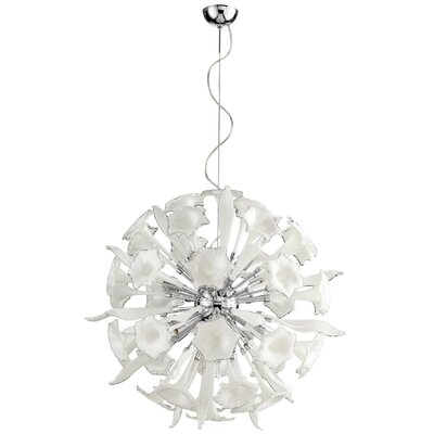 Remy 16-Light Globe Pendant Shade Color: White/Clear