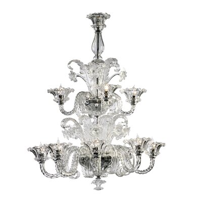 La Scala 12-Light Candle-Style Chandelier Shade Color: Clear
