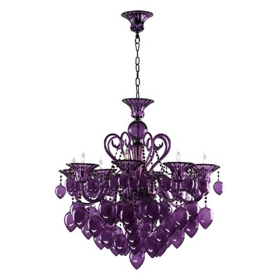 Bella 8-Light Candle-Style Chandelier Shade Color: Purple